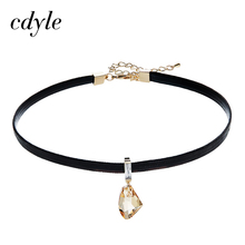 Cdyle Choker For Women Necklaces Pendants Chic Gold Color Crystals From Swarovski Fashion Jewelry Sexy Elegant Trendy Party Club(China)