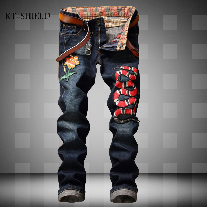Brands mens clothing design embroidered floral snake denim