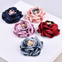 20PCs/Lot 60MM Chiffon Fabric Flowers Girls Hair Jewelry Headband Decoration Floral Button Patch Stickers Ornament Accessories