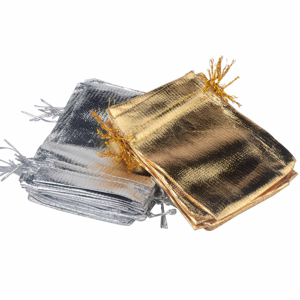 25 Pz/lotto di Imballaggio Dei Monili Silver Gold Foil Sacchetto di Tela Coulisse Sacchetto di Velluto 7X9 Cm 9X12 Cm 10X15 Centimetri Regalo di Nozze Borse E Borse Multiuso