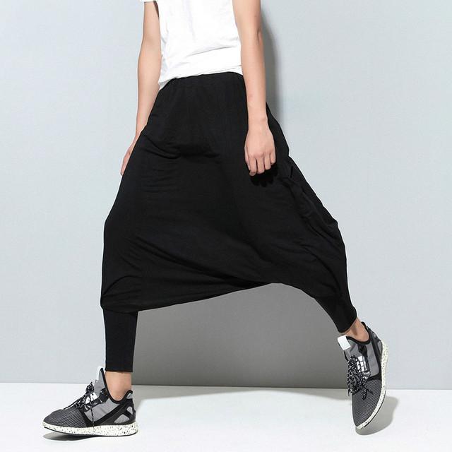 Calle hip-hop hombres pantalones cruzados ocasionales hombres elásticos flojos pantalón falda baja de la entrepierna pantalones harén pantalones más tamaño, Q45