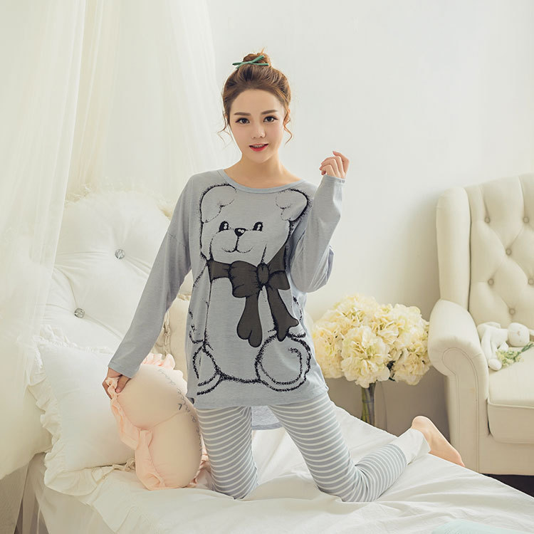 Womens Pajamas Sets 2019 Summer Round Neck Cartoon Kawaii Totoro Cartoon Sleepwear Nighty Female Casual Autumn Winter Pajamas 32