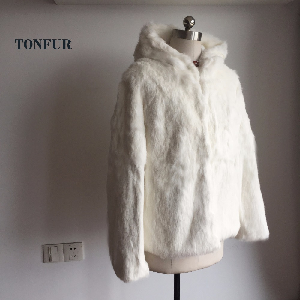 2019 New Arrival Top Fashion Real Rabbit Fur Coat With Hood Women Hoody Natural Fur Jacket Customize Big Size TSR188