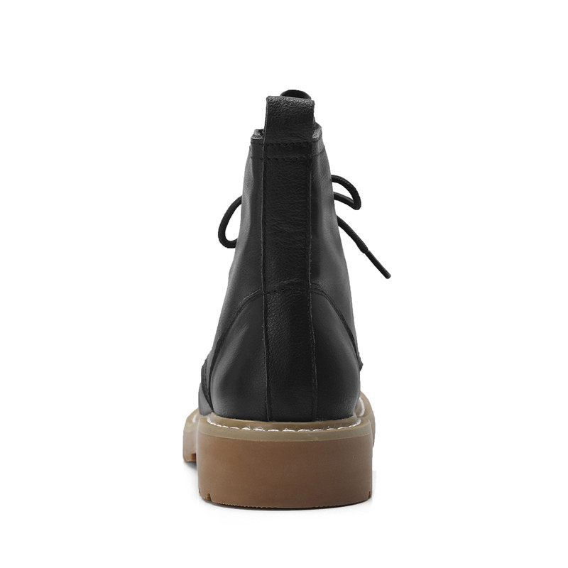 À Bottines Bottes Décontracté En Rond beige Moto Asumer Femmes Mode Nouvelle noir Chaussures Cuir Med Gray Pour Light De Talons Bout Véritable Lacets White Ewa0w