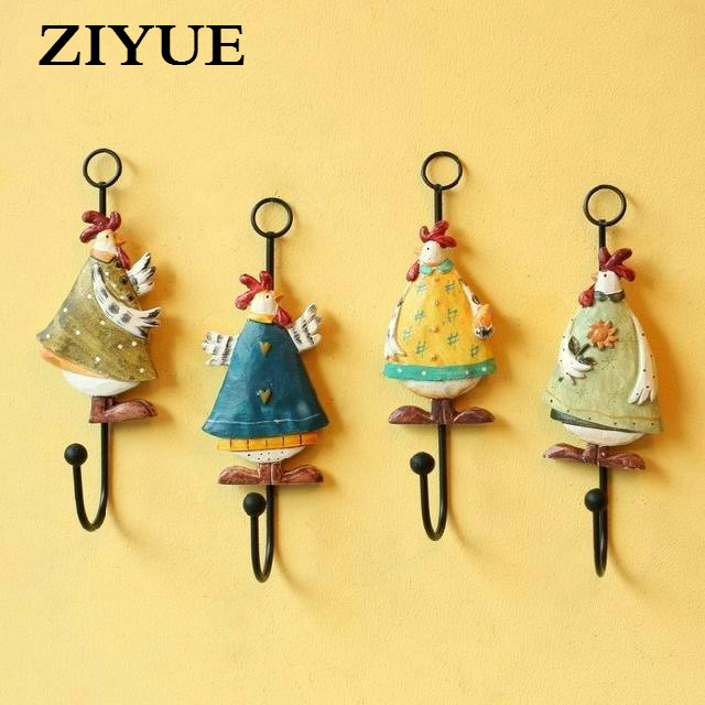 Free shipping antique painted wall hooks rendering / chicken costume ...