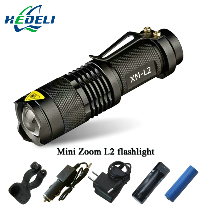 Mini Zoom cree xml l2 Flashlight Led Torch 5 mode 3800 Lumens waterproof 18650 Rechargeable battery Tactical flash light rechargeable led flashlight cree xml t6 xml l2 q5 waterproof 5 mode 18650 battery tactical hunting camping bicycle flash light