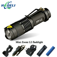 Mini Zoom Cree Xml L2 Flashlight Led Torch 5 Mode 3800 Lumens Waterproof 18650 Rechargeable Battery