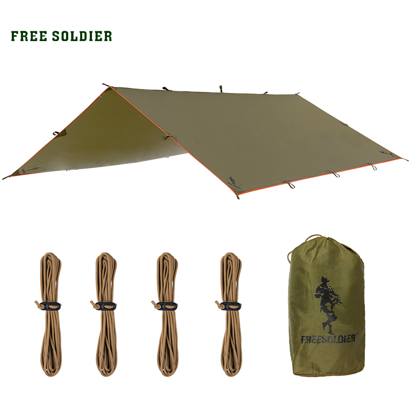 FREE SOLDIER Outdoor Sports Awning Tarp For Camping Portable Shelter Sunshade Tent Waterproof Folding PU Waterproof With Stake