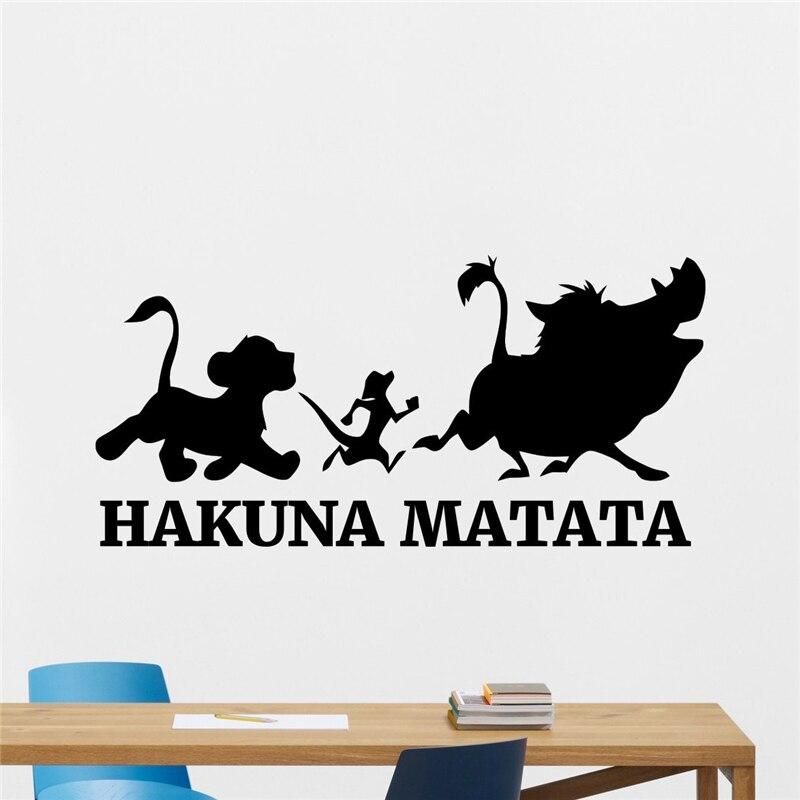 hakuna matata len rey juego de pegatinas de vinilo arte de la pared de dibujos animados