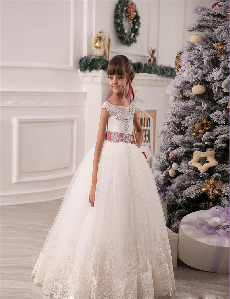 Princess   Flower     Girl     Dresses   For Wedding Lace Appliques Beads Puffy   Girls   Pageant Gowns Hollow Lace Up Bow Sash Birthday   Dresses