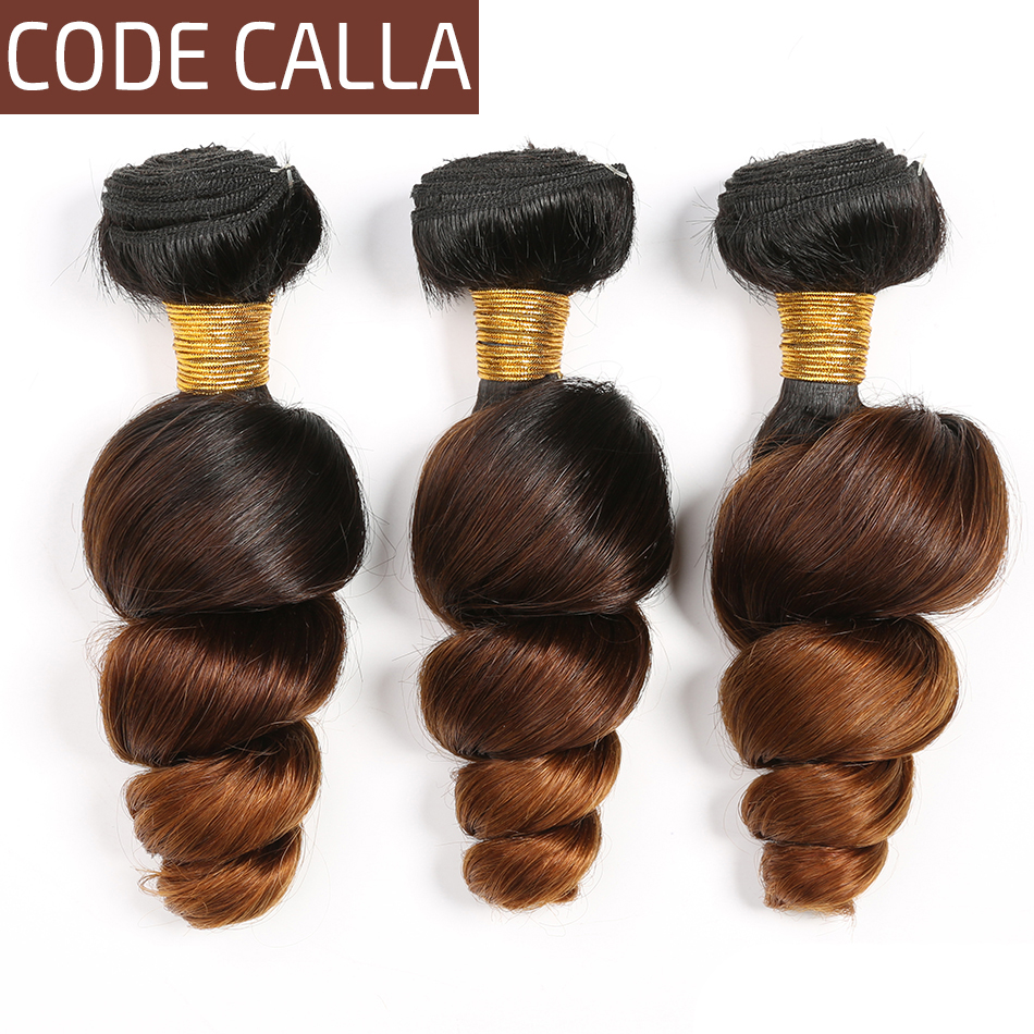Code Calla Peruvian Ombre Color Loose Wave Remy Hair Bundles 3 Pieces 100% Human Hair Weaving Extensions Double Weft 8-26Inch