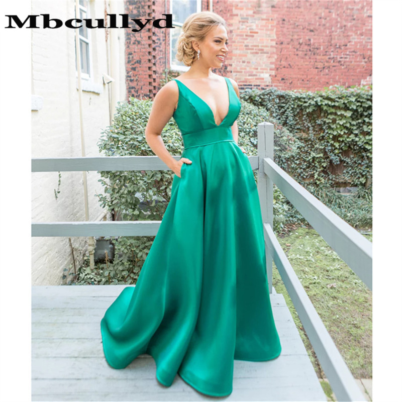 Mbcullyd Long   Prom     Dresses   A-Line 2019 Deep V Neck Green Formal Evening Gala Gowns with Pockets Cheap Sale vestidos de fiesta