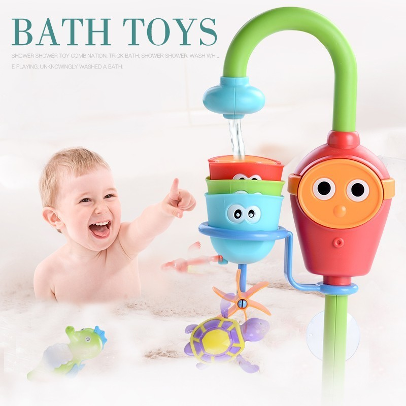 Lovely Cartoon Bathtub Kids Baby Bath Articles Toys Shower Faucet Spray Water Toys For Children Bathtub Water Spraying Tool недорого