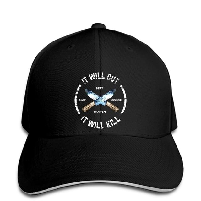 Baseball cap Fire Forged Knife Sword It Will Cut Kill Printed Black Baseball caps