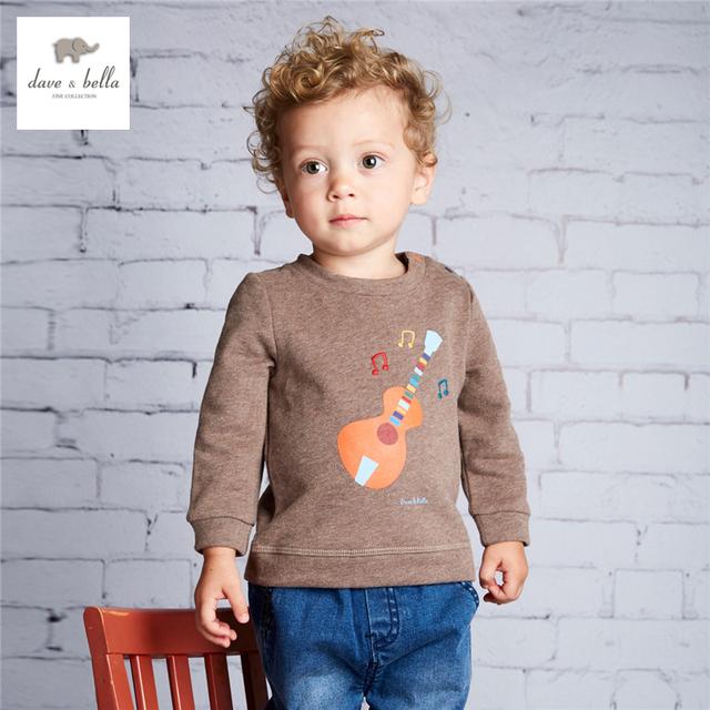 DB3995 dave bella bebê meninos impresso camiseta roupa dos miúdos dos meninos top guitarra café impresso tees