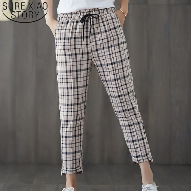 86e36cd7e71 Women pants 2019 harajuku plaid pants plus size women high waist pants  Drawstring Loose Casual Harem Pants women 3696 50