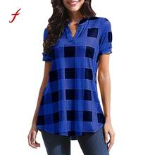 Plus Size 2018 Women Shirt Plaid Short Sleeve V-Neck Tops Irregular Elegant Hem Blouse Office Large Size clothing /PY(China)