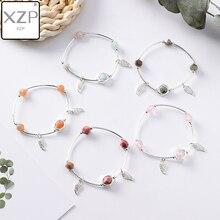 XZP Korean Simple Sweet Cute Irregular Colorful Crystal Beaded Angle Wings Pendant Bracelet for Women Girls Handmade Jewelry