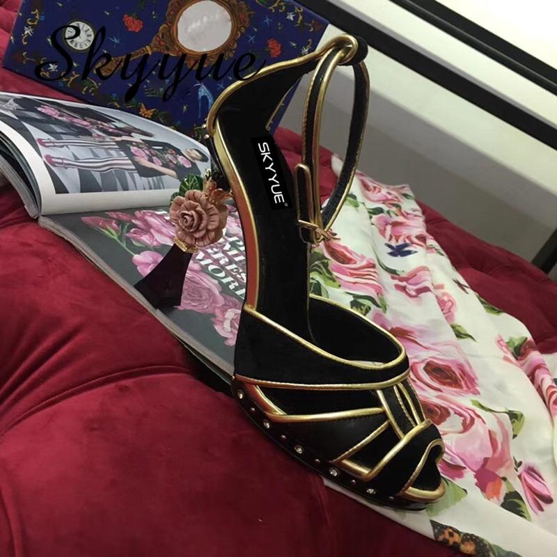 Bout Pic Pic Paillettes Chaussures As Cuir Perles Hauts Métal Floral D'été Véritable Lisn Nouveau Sandales En Ouvert Talons as À 2018 Femmes wHPnq1