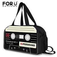 FORUDESIGNS Black Men Travel Bags Large Capacity Women Luggage Travel Duffle Bags Cassette Tape Printed Bag Multi function Bags