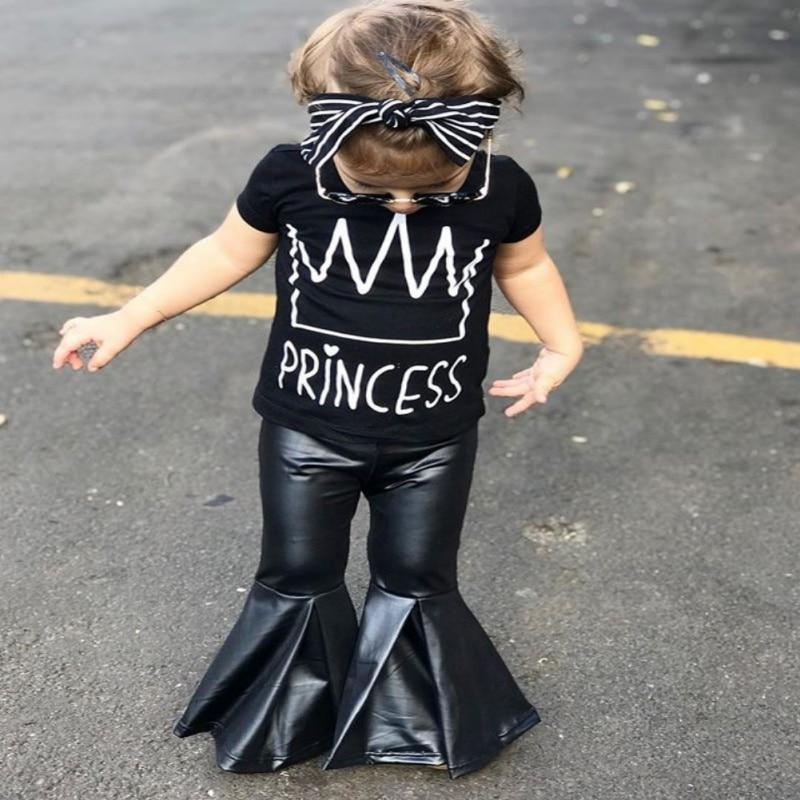 Stylowa i modna dziewczynka ustawia Czarną koszulkę z krótkim - Ubrania dziecięce - Zdjęcie 6