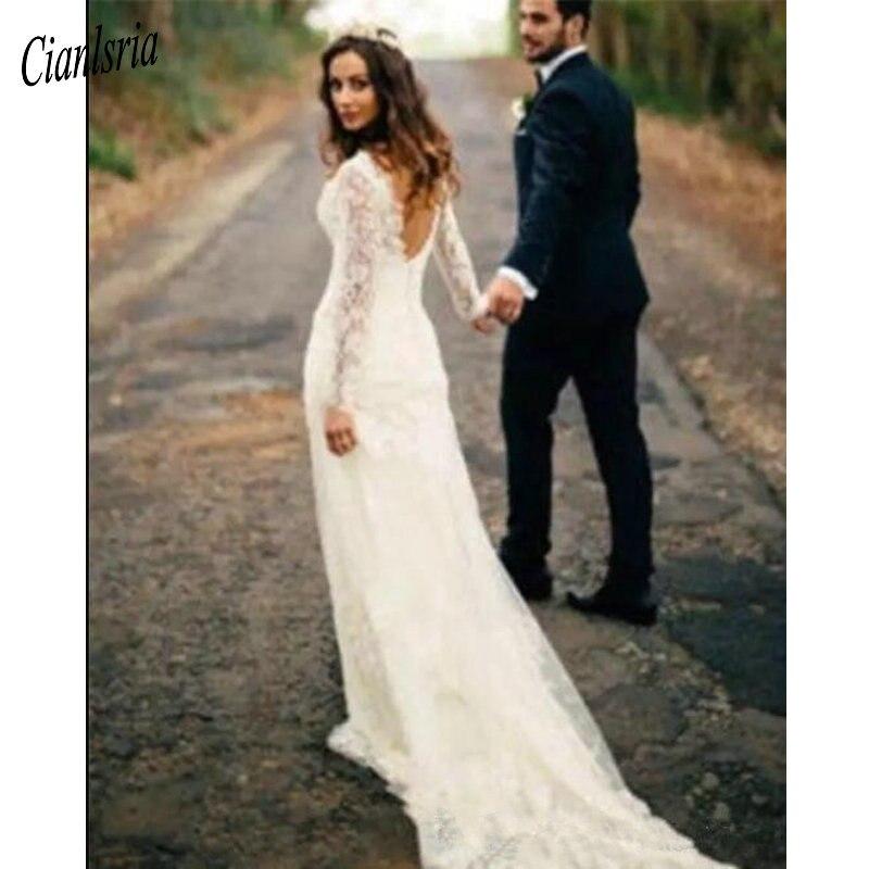 Full Sleeve Wedding Gown: Vintage Full Lace Long Sleeve Wedding Dresses 2019