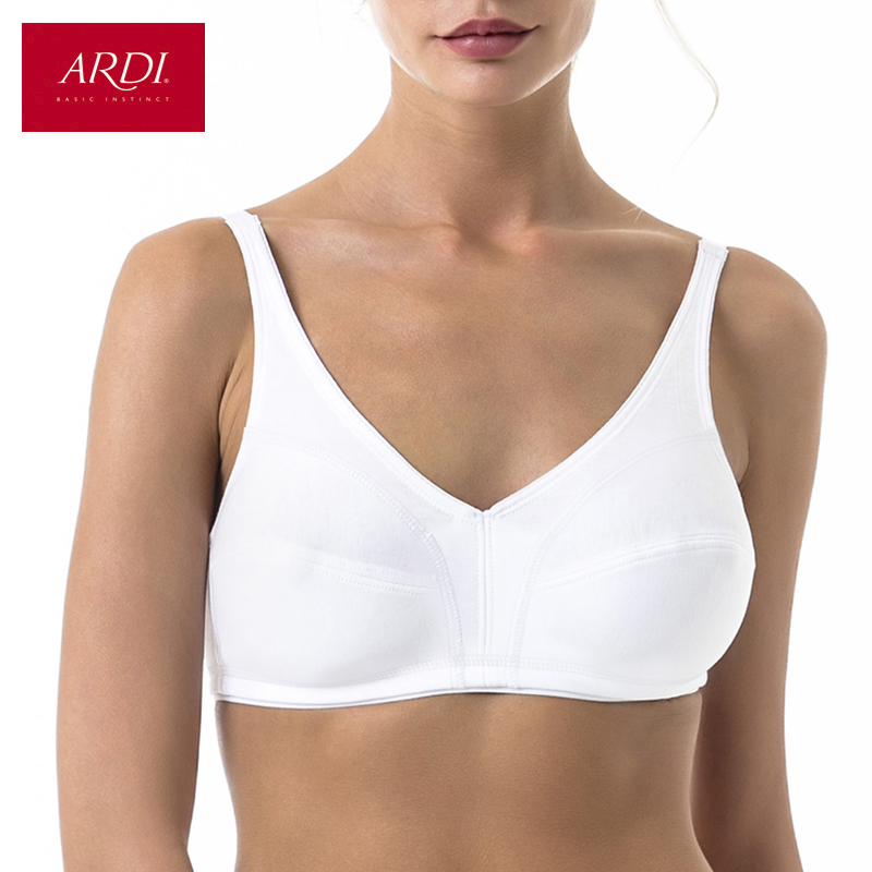 Woman s Wireless Bra with Soft Cup Wire Free for Big Size Cotton White Black ARDI