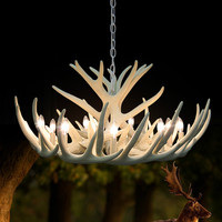 White Antler Lamp In Pendant Chandelier 4/6/9 Arms Optional E14 Socket Chandelier Living High Quality Natural Resin