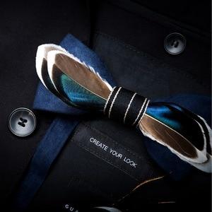 Image 4 - RBOCOTT נוצת עניבות פרפר גברים של יוקרה Bowtie עם תיבת אופנה טווס נוצת עניבות פרפר לגברים עסקי מסיבת חתונה