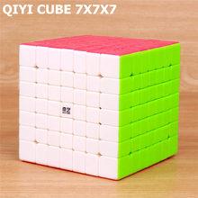 QIYI qixing s 7x7x7 ماجيك سرعة ستيكيرليس مكعب المهنية لغز مكعبات الدماغ دعابة الكبار تحول بسلاسة لعب للأطفال