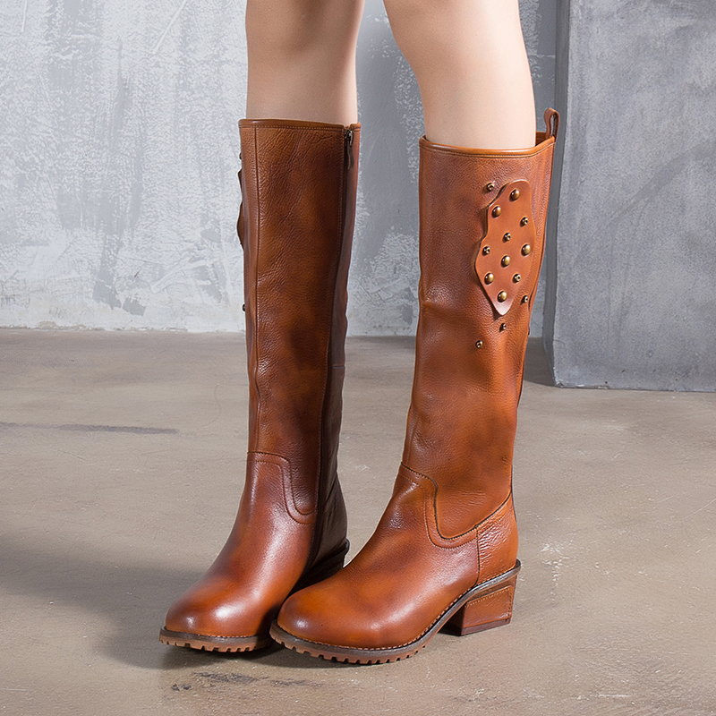 VALLU Genuine Leather Women High Boots 2018 Autumn New Arrival Ladies Long Boots Round Toes Rivet Side Zipper Knee High Boots цена