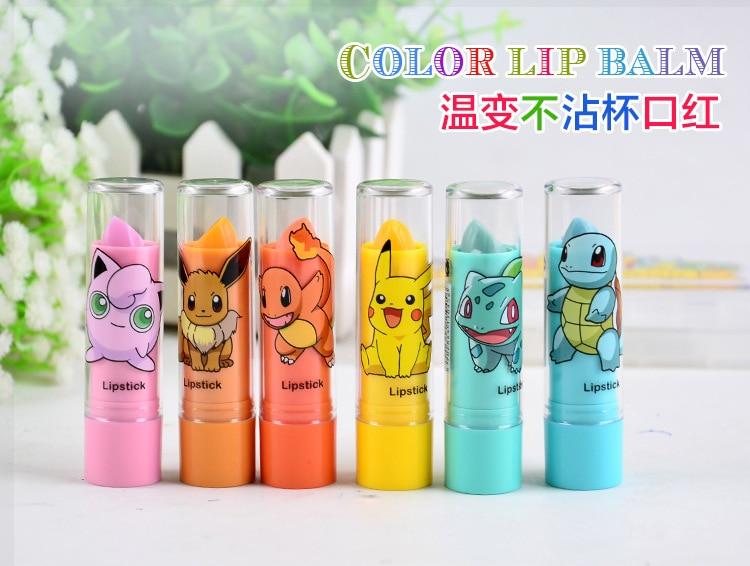 Pokemon Cute Lipstick Wax Lip Balm Moisturize Lipstick Waterproof Easy to Wear Matte Lipstick 6 Different Color