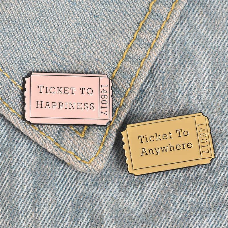 ตั๋ว PIN สีชมพูสีเหลืองตั๋ว Enamel Brooches แถมความสุข Lapel Pins ป้ายของขวัญผู้หญิงเครื่องประดับหญิง DENIM กระเป๋าเสื้อ pins