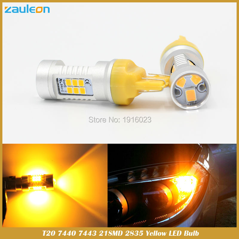 2pcs T20 7440 WY21W 7443 W21/5W Yellow Turn Signal Light High Power 21SMD 2835 Parking Lamp LED Projector Len Car Styling