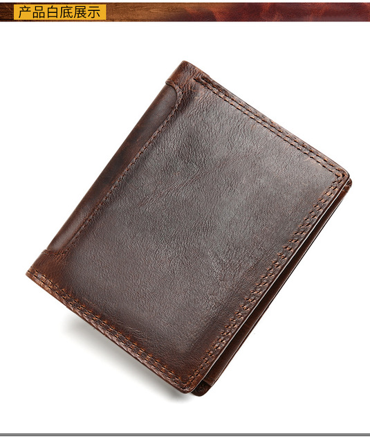 Leather man's purse. Crazy horse skin retro leisure wallet, multi-card short wallet.pinepoxp wallet