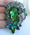 "HelenaJewelry 2.56"" Gold-tone Blue Green Rhinestone Crystal Flower Brooch Pin Pendant SMT06617C5"