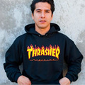 Thrasher Hoodie Men Women100% Cotton Thrasher Sweatshirts Flame Blaze Skateboard Magazine Hip Hop Thrasher Hoodies Tracksuit