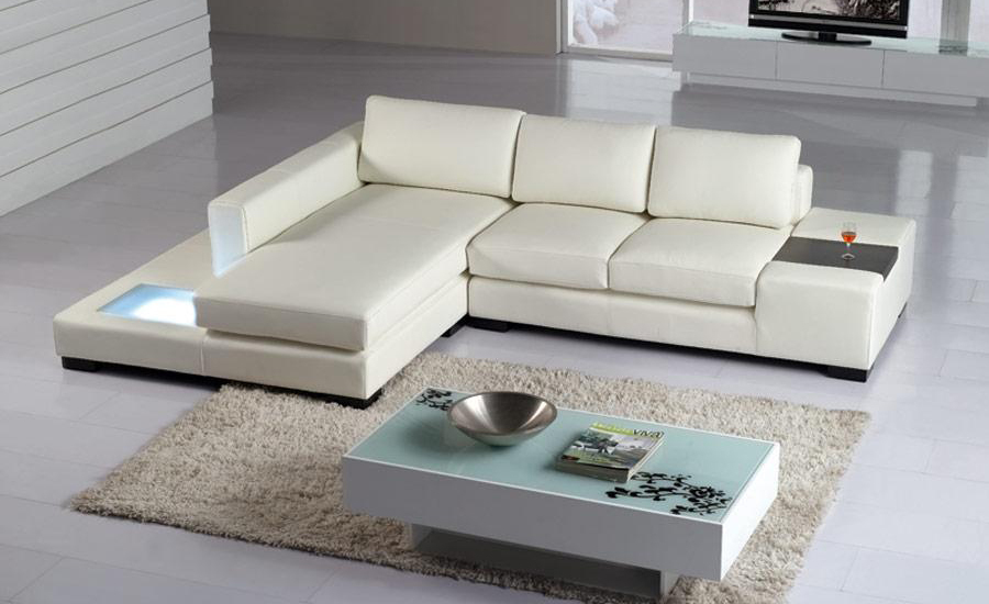 Free Shipping Modern L Shaped Simple White Black Cattle Leather Corner Sofa With Led Light Set