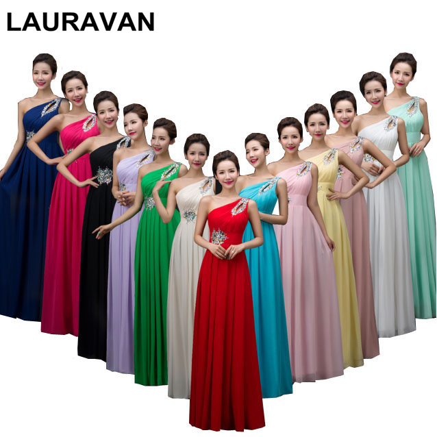 Red Bridemaids Long Purple Yellow Hot Pink Chiffon Bridesmaid Dresses One Shoulder Womens Party Dress New 2019 New Arrivals Gown