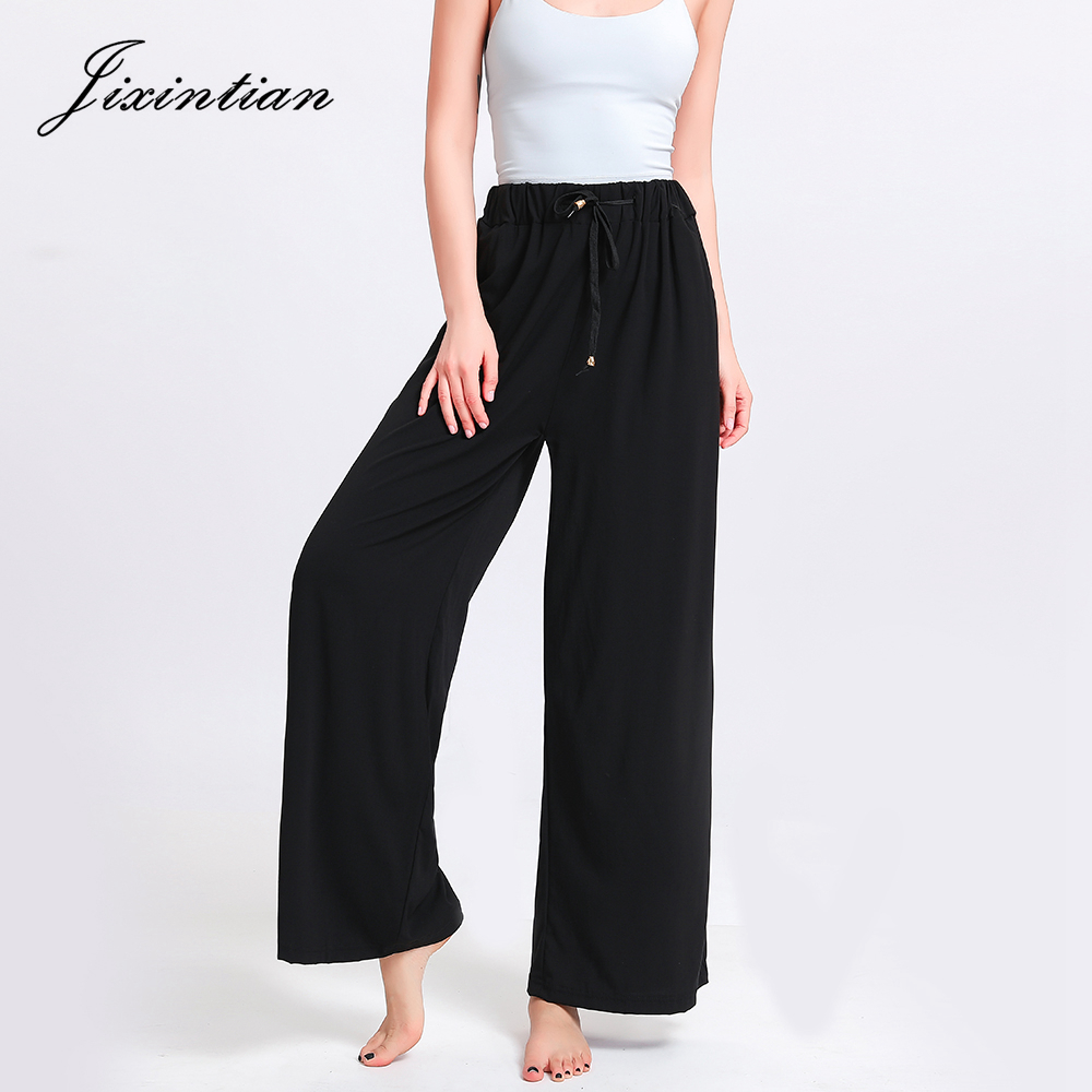 Jixintian Summer 2019 New 100% Rayon   Wide     Leg     Pants   Drawstring High Waist Trousers Women Pockets Printed Loose Casual Long   Pants
