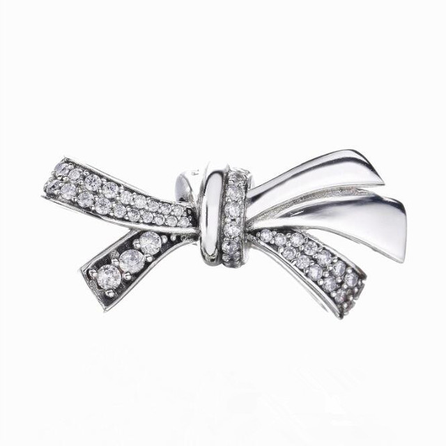 2018 Mother Day 925 Sterling Silver Pave Cz Brilliant Bow Charm Fits Pandora Bracelet Bangles Jewelry