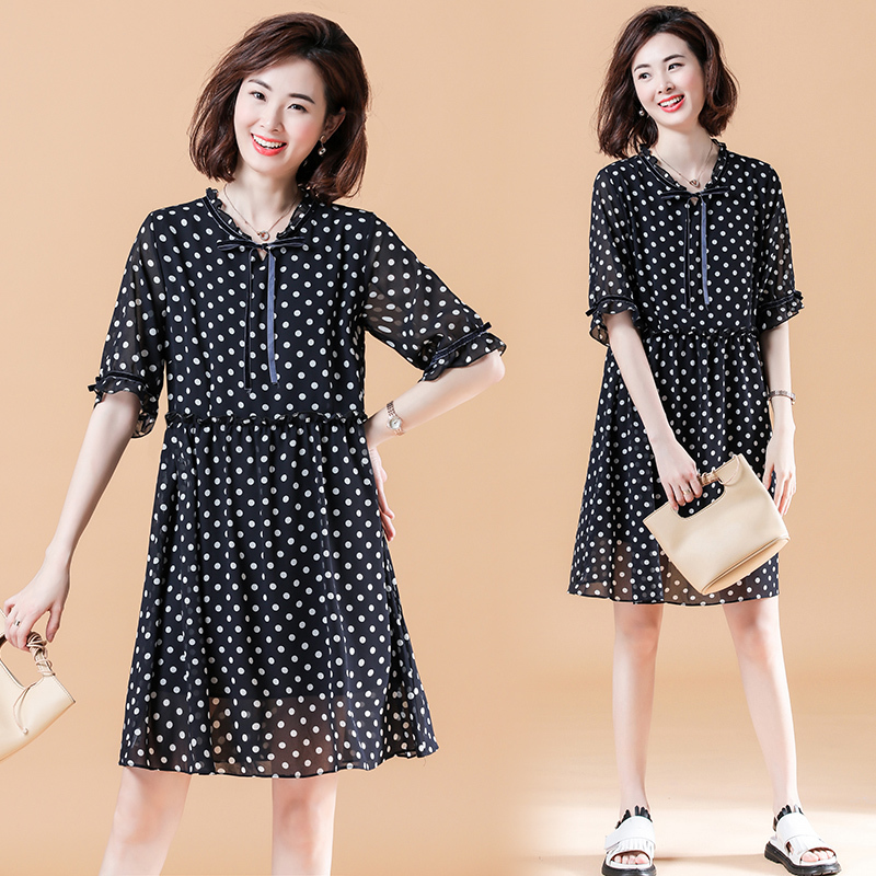 0458 Summer Casual Polka Dot Printed Dress For Women Short Sleeves Black O Neck Chiffon Mini Dress Female Loose Plus Size 5XL in Dresses from Women 39 s Clothing