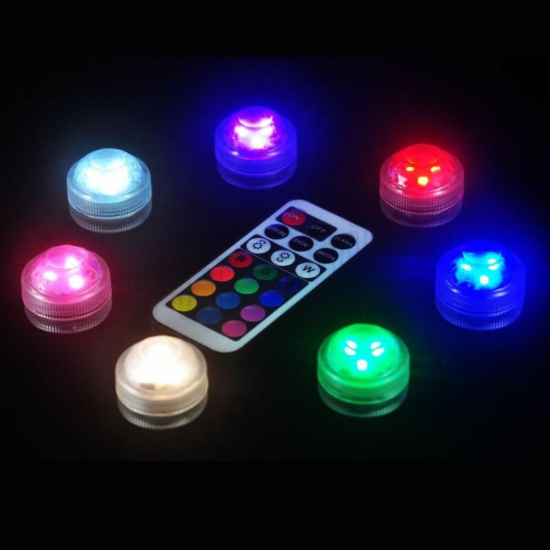 30 pièces/ensemble décoration de mariage télécommande LED étanche Submersible fête Mini lumière LED CR2032 piles incluses lampes de nuit
