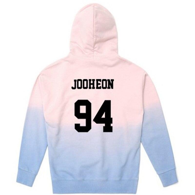 ALLKPOPER KPOP Monsta X Cap Hoodie Unisex Shownu WONHO Number Printed Pink Shades Sweatershirt HYUNGWON Hooded Sweatshirts Femle