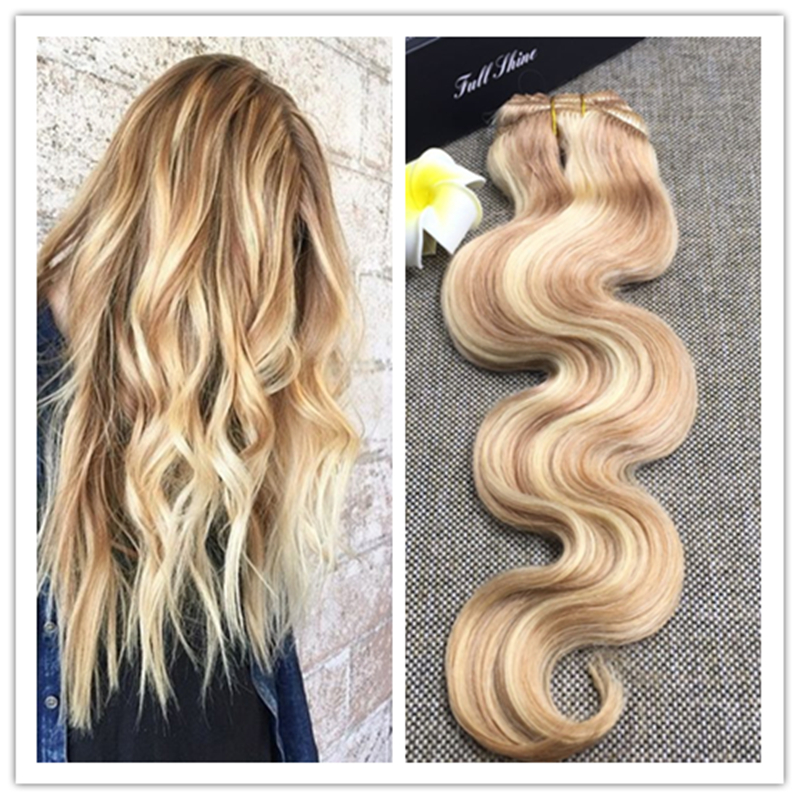 Full Shine Balayage Clip in Hair Extensions Body Wave Virgin Hair Extensions 7 Pcs/Set #27/613 Highlighted Brazilian Hair 27 613