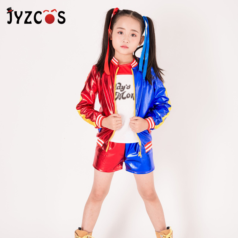 JYZCOS Kids Girls Harley Quinn Cosplay Costume Suicide Squad Costume Purim Halloween Carnival Costume Party Jacket for Children