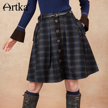 ARTKA 2018 Winter New Female A-line Oblique Pockets Plaid Classic All-match Mini Skirt QA10175D artka women s autumn new vintage plaid a line all match comfy short skirt qa10058q