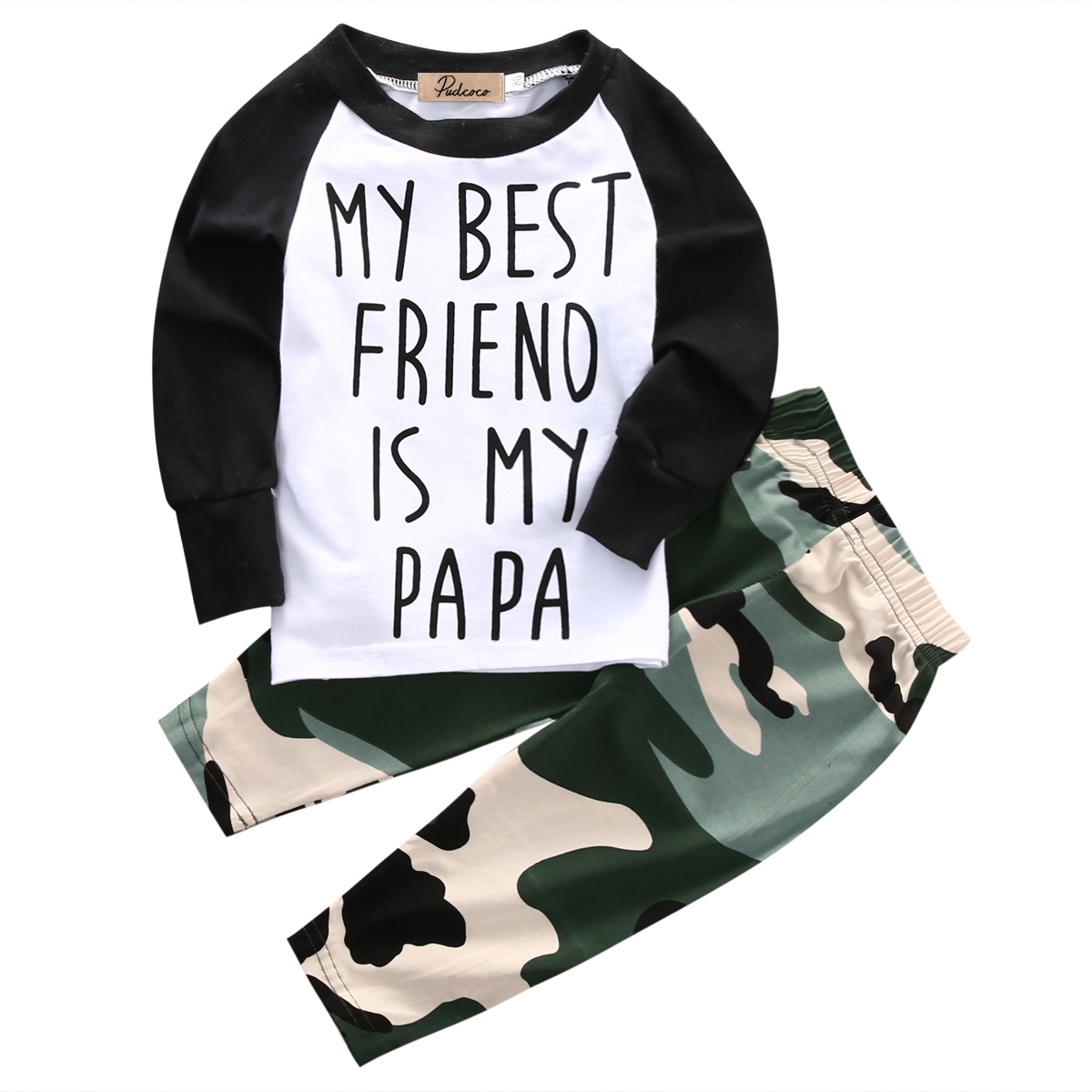 Helen115 Casual Newborn Baby Boys Girls Letter Printed Full Sleeve T-shirt+Camouflage Pants 0-18M