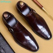 QYFCIOUFU Monk/Мужские модельные туфли с ремешком; классические туфли-оксфорды с перфорацией типа «броги»; британский стиль; натуральная кожа; мягкая обувь на плоской подошве для свадьбы; официальная обувь; размеры США 11,5
