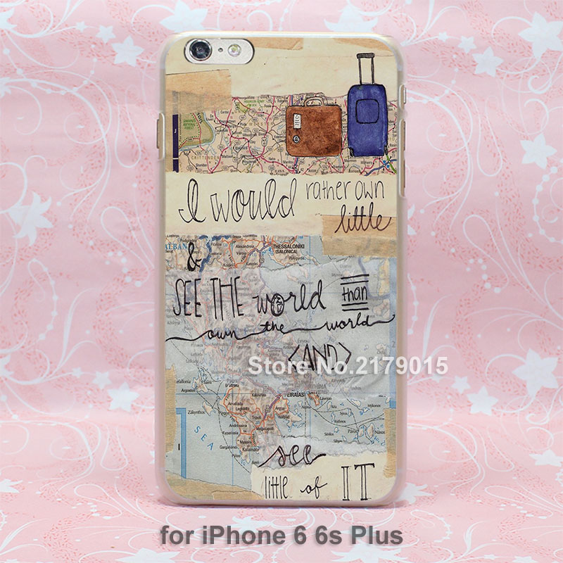 inspirational travel quotes Pattern hard transparent clear Cover Case for Apple iPhone 7 6 6s Plus 5 5s 4 4s SE